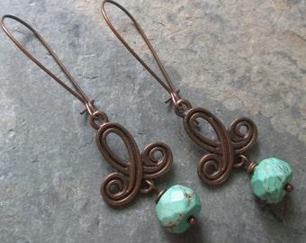 Turquoise & Copper Earrings - Long Hippie Gemstone Earrings - Chakra / Metaphysical / Boho Jewelry