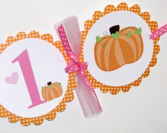 Pumpkin Banner with hearts and polka dots -- High Chair Banner, Birthday Banner, It's a Girl Banner
