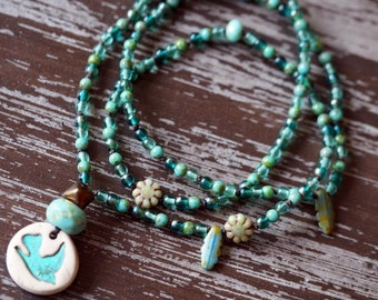 Teal Sparrow Necklace - Turquoise Necklace - Eclectic Boho Necklace - Woodland Necklace - Turquoise Jewelry - Bead Soup Jewelry
