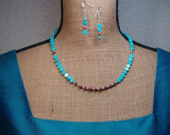 Natural Turquoise and Handmade Clay Pottery Swirls, 926 Silver Necklace and Earrings