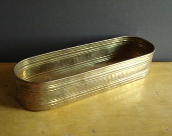 Brass it Up - Large, Narrow Brass Planter -  Rectangle Brass Planter or Bin