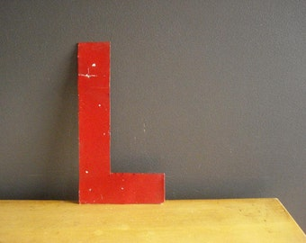 This Listing Brought to You by the Letter L - Vintage Red Letter L - Metal Letter L Monogram