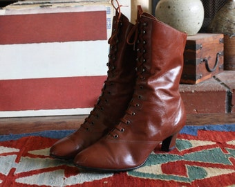80s/90s brown victorian / edwardian / granny boots
