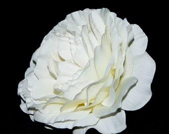 1 Jumbo Creamy White Ranunculus - Silk Flowers, Artificial Flowers, Flower Head