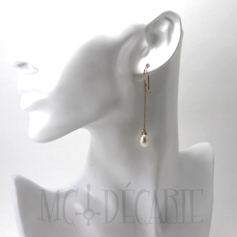 Long Pearl Earrings In 14k Gold, Drop Oval Freshwater Pearls, Solid Yellow  Gold 14k, Pearl Earrings, Bridesmaids Gift Ideas, White Pearls