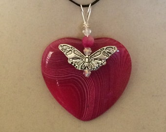 Wire Wrapped Pink Agate Heart Pendant with Butterfly
