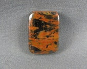 Great Tiger Tail Orange Red and shiny Hematite designer cabochon hand cut