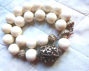 Antique Chinese Sterling Silver Turtle Bead - Fossil Coral Necklace