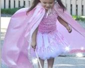New hooded satin princess  Birthday pretend play Halloween Costume royal medievil  cape girl toddler 3-6 years
