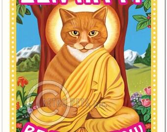 "8x10 Cat Art - Zen Kitty ""Be Here Meow"" Art Print by Krista Brooks"