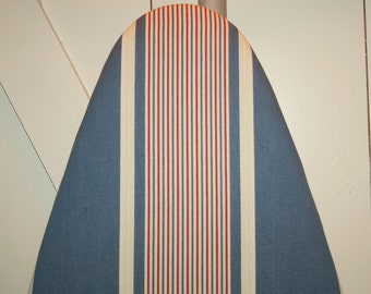Red, Cream, and Blue Coastal Stripe Newly Handmade Vintage French Ticking Ironing Board Cover