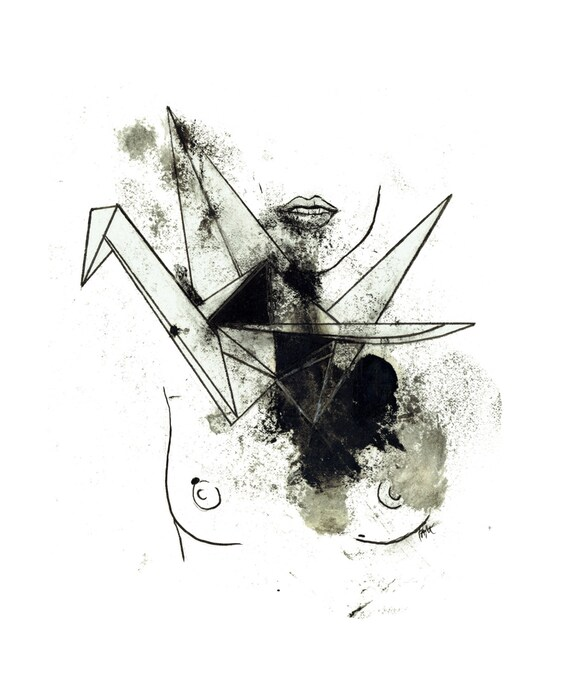 minimalist ink print: Crane