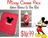Mickey Combo Pack - Personalized Tote Bag & Water Bottle