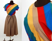 1970s chevron striped dress pleated skirt Size M Charles Alan