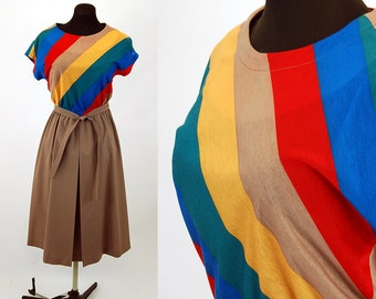 1970s dress chevron striped dress pleated skirt elastic waist Size M Charles Alan