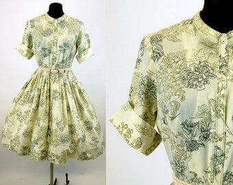 1950s shirtwaist dress shirt dress fit flare botanical print pleated skirt Size M