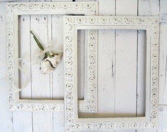 French Country Frames, Vintage Frames, White Frames, Fancy Ornate Frames, Shabby Cottage Decor, Paris Apartment, 11x14 Frames