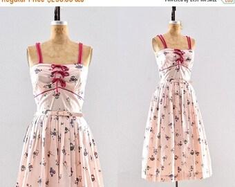 50% OFF SALE vintage 1950s dress - novelty print dress / 50s pink dress / cotton dress