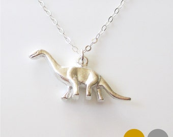 Brontosaurus Dinosaur Necklace- Sterling Silver Dinosaur Necklace- Gold Dinosaur Necklace- Dino Necklace- Dinosaur Charm Necklace- NGS-DINO1
