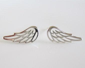 Sterling Silver Angel Wing Stud Earrings- Silver Wing Earrings- Sterling Silver Wing Studs-Angel Wing Post Earrings ES-SD1