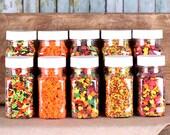 Fall Sprinkles Set with Autumn Leaves Quins, Pumpkin Sprinkles, Jimmies & Harvest Mix Nonpareil Sprinkles, Thanksgiving Sprinkles (5 jars)