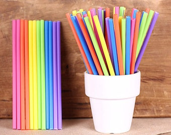"Girls Rainbow Lollipop Sticks, Small Rainbow Cake Pop Sticks, Lolly Sticks, Plastic Lollipop Sticks, Colored Lollipop Sticks (4.5"" - 30ct)"