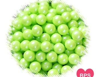 Pearl Lime Green Sugar Pearls, Lime Green Sprinkles, 7mm Sugar Pearls, Large Candy Beads, Soft Lime Green Sprinkles, Candy Pearls