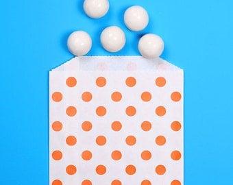 Orange Favor Bags, Halloween Treat Bags, Orange Goodie Bags, Orange Treat Bags, Party Favor Bags, Small Gift Bags, Polka Dot Favor Bags (12)
