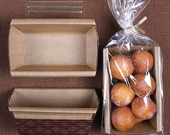 Small Bread Loaf Kit: Brown Loaf Pans, Bags and Twist Ties, Christmas Bread Loaf Pans, Christmas Loaf Pan, Disposable Paper Loaf Pans (6 ct)