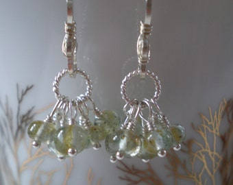 Moss Aquamarine Rondelle Cluster Earrings in Sterling Silver