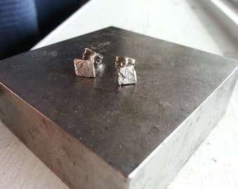 Sterling Silver Rough Ear Studs
