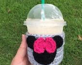 Disney coffee cup cozy, teacher gift, coffee sleeve, Minnie Mouse, disney vacation,fall autumn accessory, pumpkin cozy, disney fan