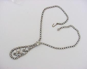 BG180 Vintage Neck Tie Themed Choker Necklace Crystal Ice Rhinestones