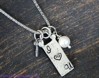 I Heart You- Charm Necklace, I Love U Necklace with Key Charm, Gift for Wife, Gift for Girlfriend