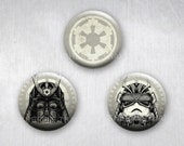 Star Wars Japanese Steampunk Samurai, Pinback Buttons, Original Art Design, 1.25 inch, Set of 3