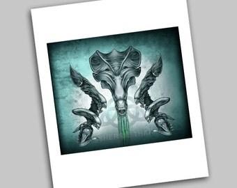 Aliens Queen Xenomorph Movie Tribute Art, Sci Fi Horror, Art Print, Sale