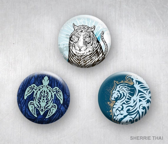Graphic Tribal Tattoo Animal Art Dragon Turtle Tiger Pinback Buttons by Sherrie Thai of Shaireproductions