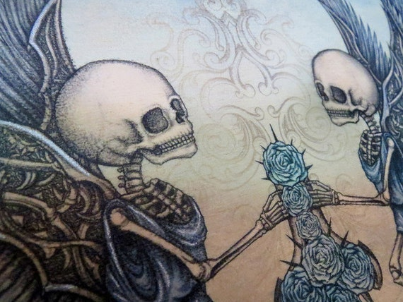Skeleton Cherub Angels, Art on Wood by Sherrie Thai