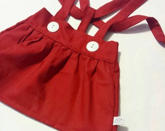High Waist Suspender Skirt - Solid Red - Baby Toddler Girl - Adjustable - Mod Trendy - Spring Summer Fall Winter - Valentine's Day