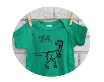 Dinosaur Rawr Infant Creeper, Velociraptor, onepiece bodysuit, Kelly Green, Cotton, Dino, short sleeved, hand printed, Prehistoric Reptile
