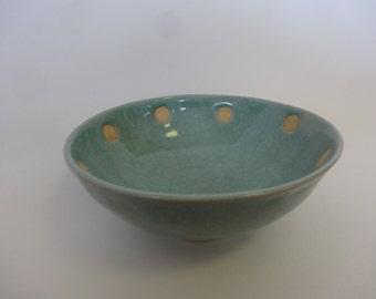 Polka Dots Blue Celadon Bowl