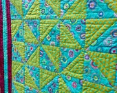 hand quilted Lap quilt, throw quilt, sofa quilt, baby toddler quilt, designed with Kaffe Fassett fabric, turquoise chartreuse magenta