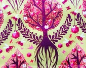 Reserved for Steven Tula Pink fabric OOP, Tree of Life, gold, Birds and Bees collection, by the half yard, rare, hard to find, tree fabric