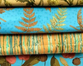 Martha Negley fabric, OOP, half yard bundle, turquoise yellow gold
