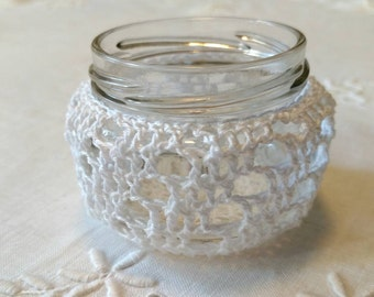 Crocheted White Candleholder, Recycled Glass Jar