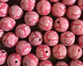 10 x 12mm polymer clay round pink flower beads.