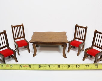 Vintage Dollhouse Furniture Miniature Wooden Dollhouse Table and Chairs