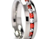 6MM Eternity Ring Titanium Wedding Band Rings for Women Orange-CLEARANCE!! SALE!!