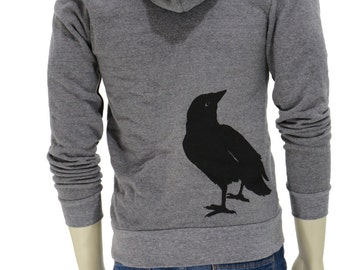 Crow| Full Zip Soft thick Hoodie| Raven| Men's Unisex| Winter hoodie| Art by MATLEY| Gift for him and her| XS-XXL| Bird| Autumn jacket.