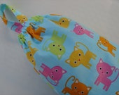 Plastic Grocery Bag Holder Cats Kittens in Pink, Yellow, Orange on Light Blue Background